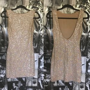 Nasty Gal Sequin Champagne Color Party Dress